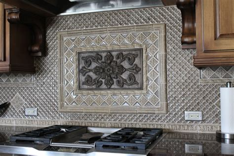 kitchen backsplash medallion kitchen backsplash with bronze medallion and silver glass
