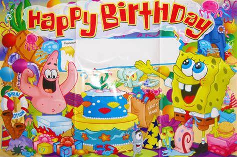 free printable spongebob happy birthday banner spongebob squarepants birthday party banner poster