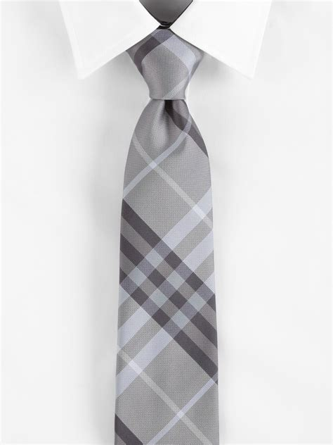 burberry wisteria check tie in gray for grey taupe
