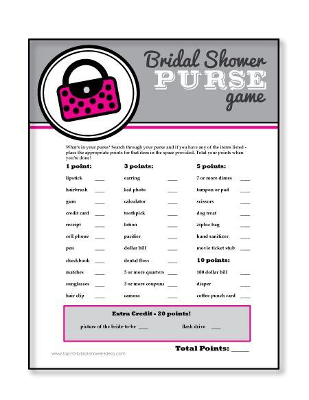 printable bridal shower purse scavenger hunt printable bridal shower games