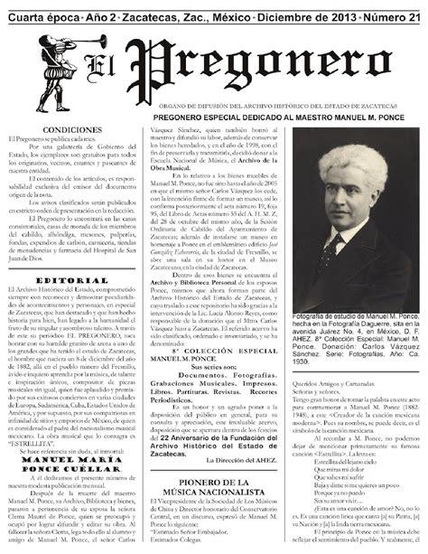 el pregonero el pregonero archivo hist 243 rico zacatecas diciembre 2013 by