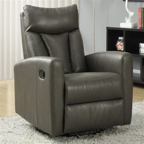 charcoal recliner padded back swivel glider leather recliner in charcoal