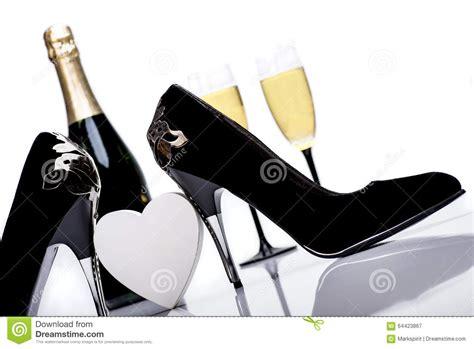high heels glasses black high heels chagne and glasses stock image