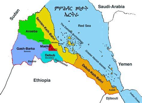 eritrea map eritrea regionen karte
