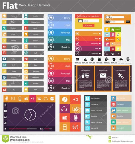 homepage design elements flat web design elements buttons icons templates for