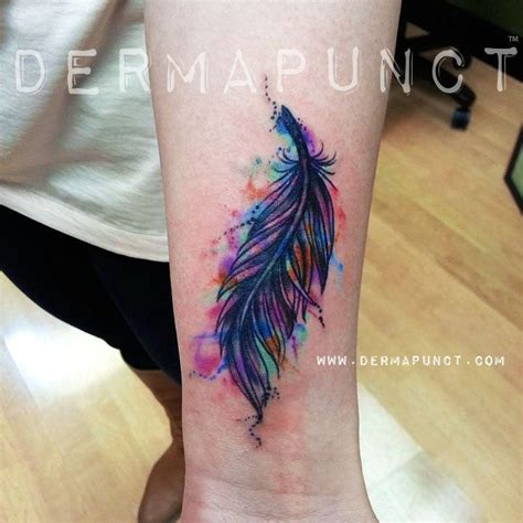 watercolor tattoos on wrist 33 watercolor feather tattoos