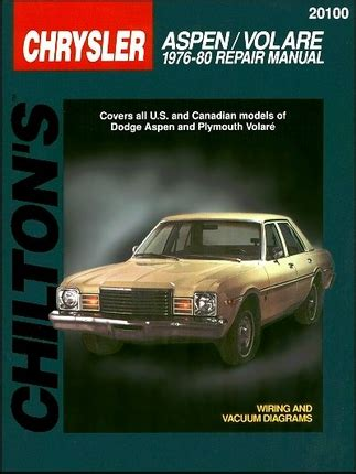 dodge aspen plymouth volare repair manual 1976 1980 chilton