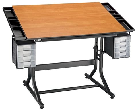 Drafting Table Canada Deluxe Drawing And Hobby Table Black Base With Cherry Woodgrain Top Alfaplanhold Your