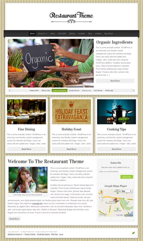 design menu in wordpress organic themes restaurant wordpress theme review
