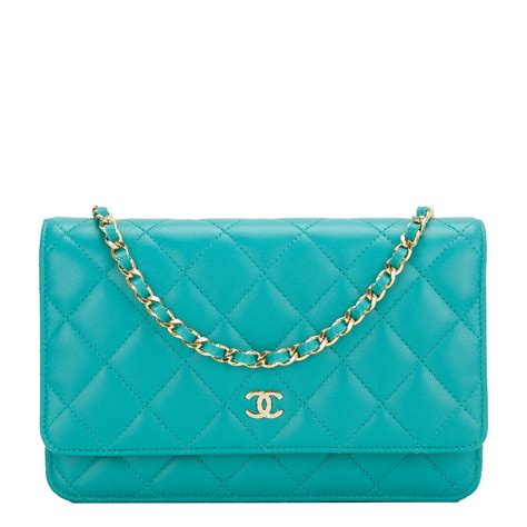 Sale Tas Wanita Lv Classic Woc chanel turquoise quilted lambskin classic wallet on chain woc world s best