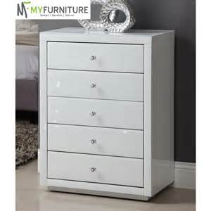 vegas white glass mirrored 5 drawer chest
