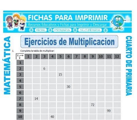 matematicas cuarto de primaria ejercicios multiplicacion ejercicios para cuarto de primaria fichas