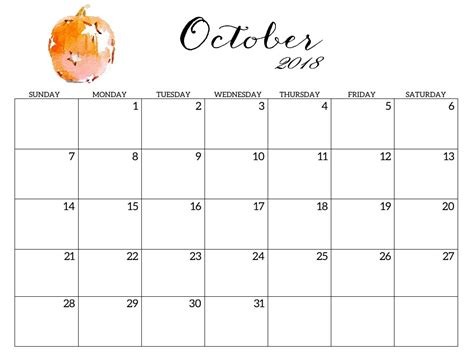 printable calendar october 2018 printable 2018 monthly blank templates calendar 2018