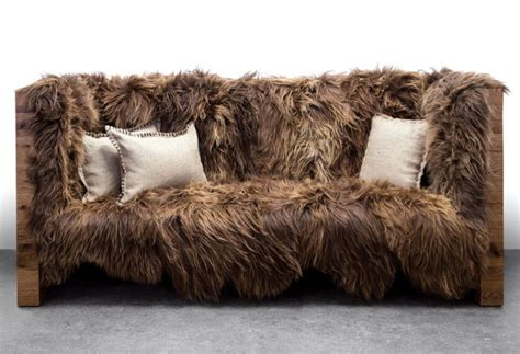 wool couch looks like it smells the chewbacca fur sofa geekologie