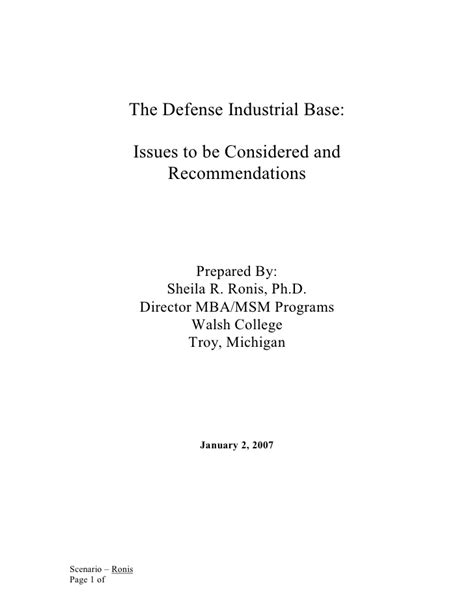 Walsh College Mba Program by The Defense Industrial Base Issues To Be Considered And