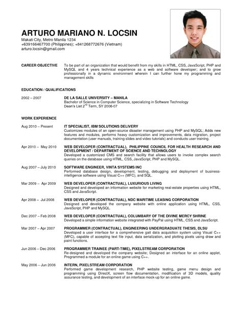 sle resume for computer science fresh graduate sle resume of computer science fresh graduate exle