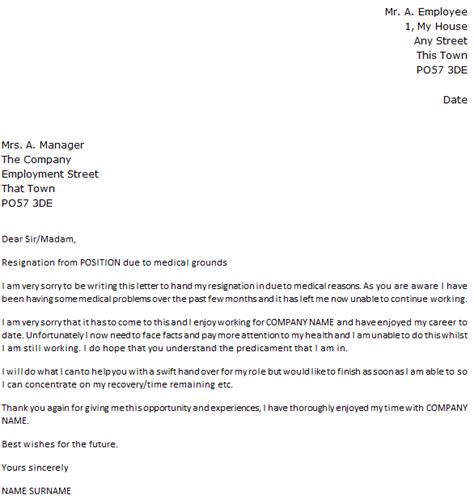 Free Resignation Letter Due To Health Reasons Letter Of Resignation Due To Reasons Icover Org Uk