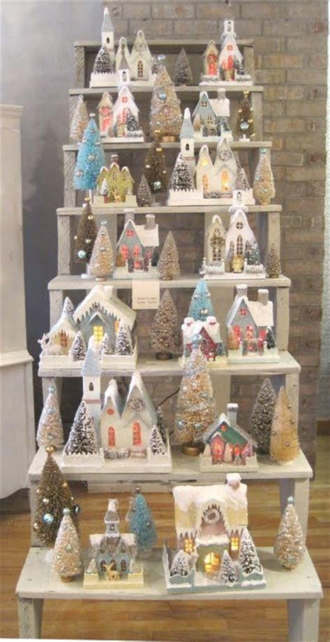 christmas village ladder display putz display svg house templates wooden steps snow and ladder