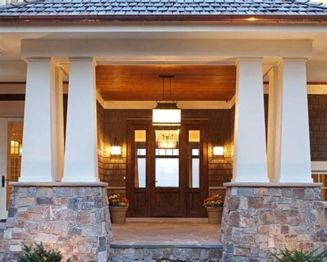 craftsman stone entry pillars houzz