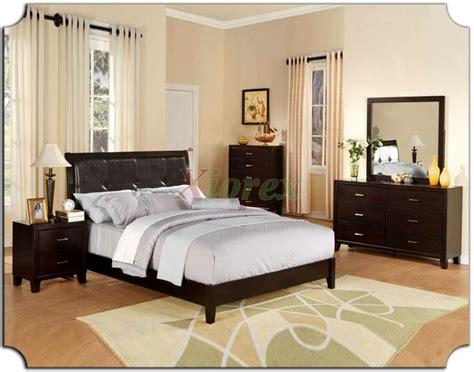 platform bedroom furniture set with tufted leather