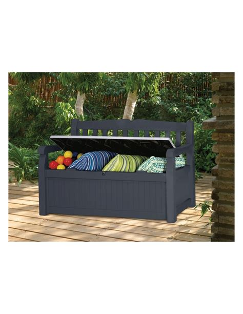 banc de jardin en pvc coffre banc de jardin ou terrasse gris anthracite 265 l en pvc