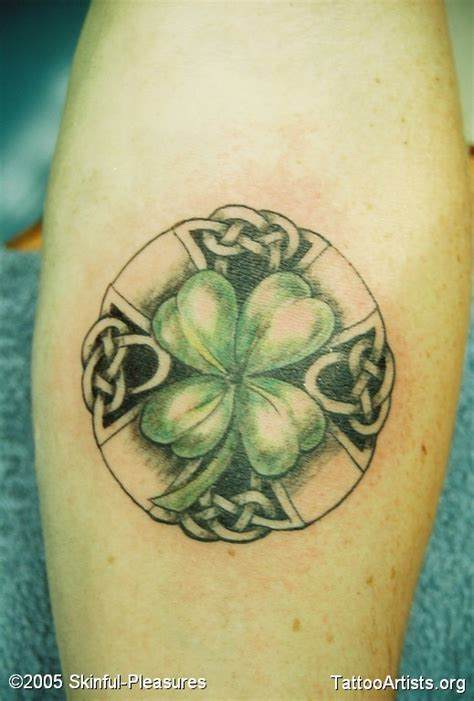 green light tattoo light green celtic shamrock leaf on leg