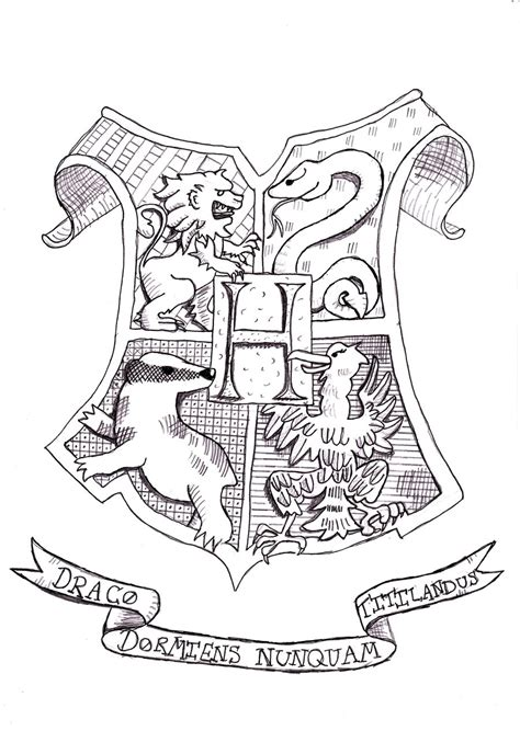 Hogwarts Crest Coloring Page Sketch Coloring Page Gryffindor Coloring Pages