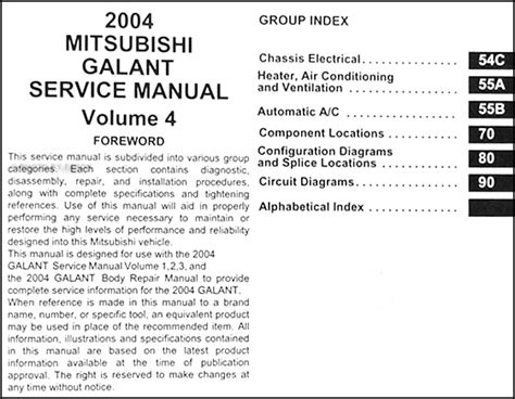 2004 mitsubishi galant manual 2004 mitsubishi galant repair shop manual set original