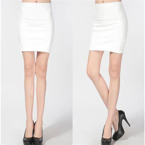 white fashion pu faux leather skirt bodycon high waist