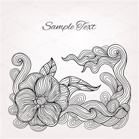 Vector Card With Floral Doodle Graphics On Creative Market
