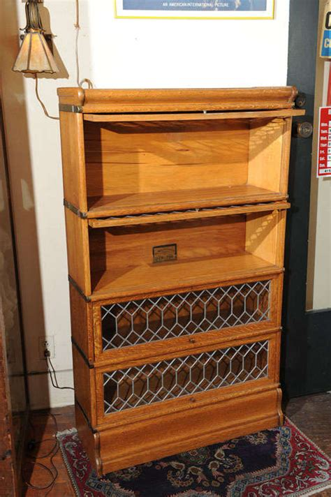 Lawyer Bookcases Glass Doors Four Section Oak Lawyer S Bookcase With Leaded Glass Doors At 1stdibs