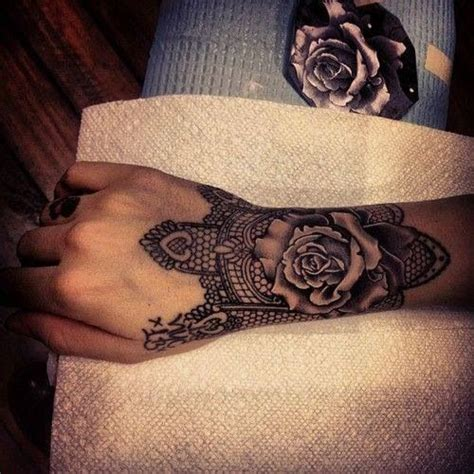wrist tattoo lace rose tattoos pinterest
