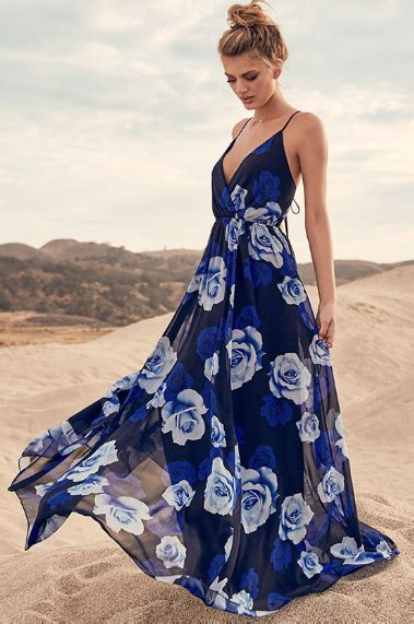 Maxi Dress Gamis Longdress Flowing Syari only in dreams navy blue floral print maxi dress floral