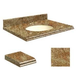 Granite Vanity Top With Biscuit Sink Shop Transolid India Gold Granite Undermount Single Sink