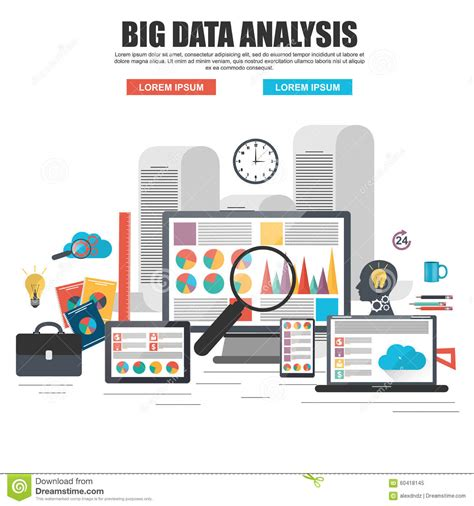 flat design concept of business big data analysis stock