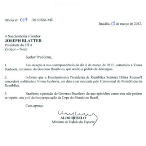 carta formal em italiano ministro do esporte promete carta 224 fifa para esclarecer rela 231 227 o secret 225 geral