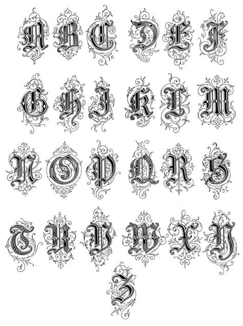 gothic tattoo alphabet gothic letters english style english and fonts