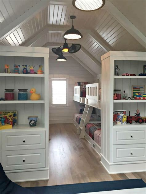 Attic Bunk Room Ideas - bunk room with eight beds rental house ideas
