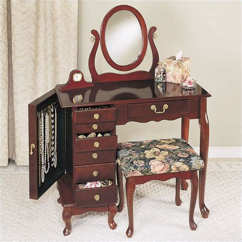 makeup vanity bench powell furniture heirloom cherry wood makeup vanity table set bedroom vanitie ebay