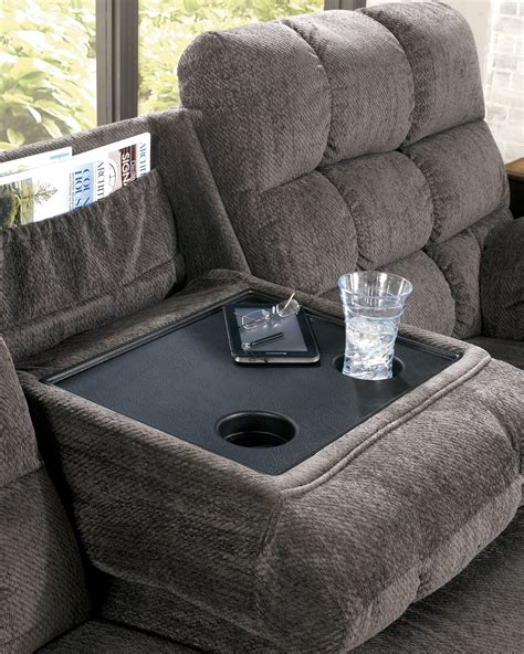 Acieona Slate Reclining Sofa With Drop Down Table From Reclining Sofa With Drop Table