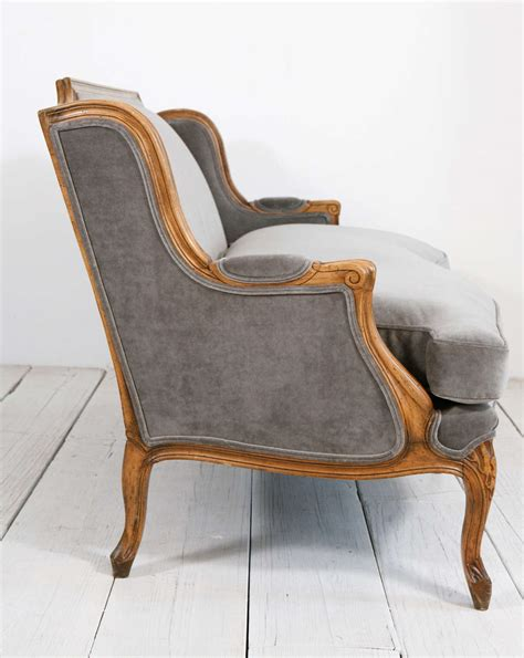 grey velvet settee louis xv style settee canape in grey velvet at 1stdibs