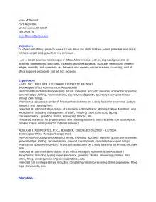 bookkeeper resume format sle with objective and