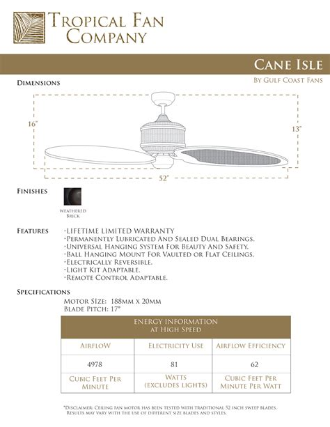 Isle Of Canes 52 inch isle tropical ceiling fan