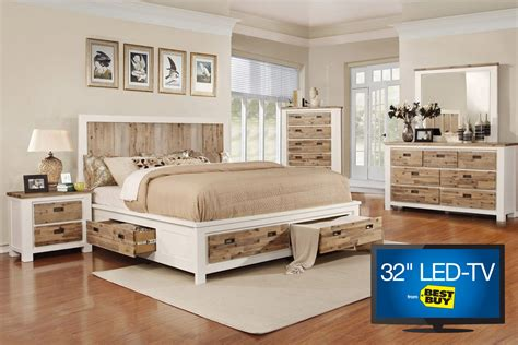 storage bedroom sets queen western queen storage bedroom set with 32 quot tv at gardner white