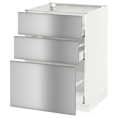Ikea Stainless Kitchen Cabinets Metod Maximera Base Cabinet With 3 Drawers White Grevsta Stainless Steel 60x60 Cm Ikea