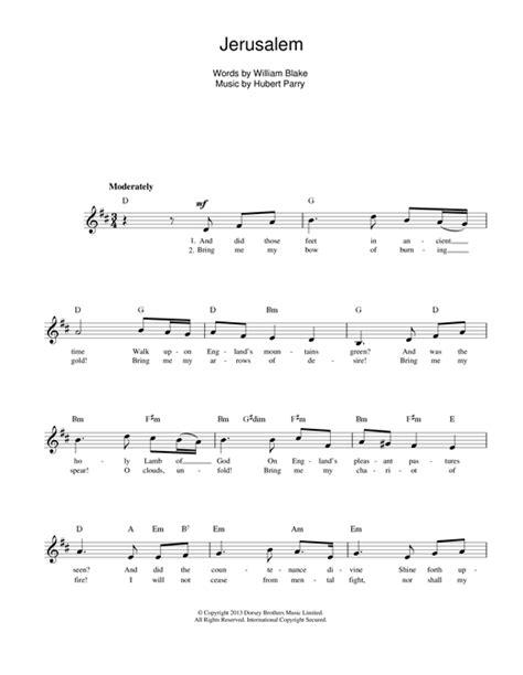 printable jerusalem lyrics jerusalem chords by hubert parry melody line lyrics