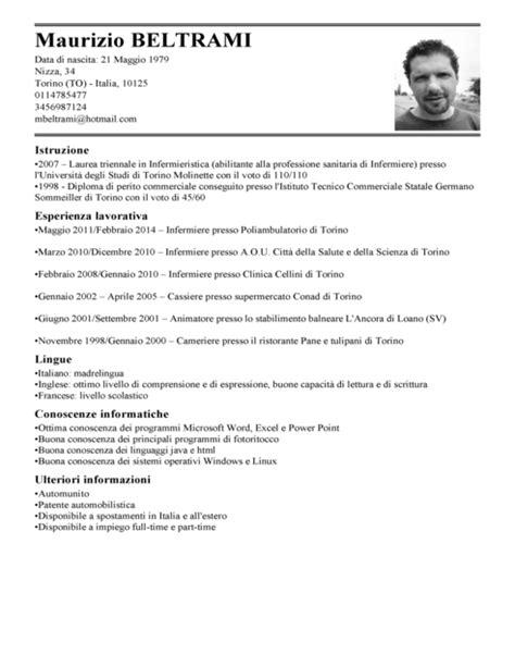 Formato Europeo Curriculum Vitae Fac Simile curriculum vitae europeo infermiere compilato curriculum