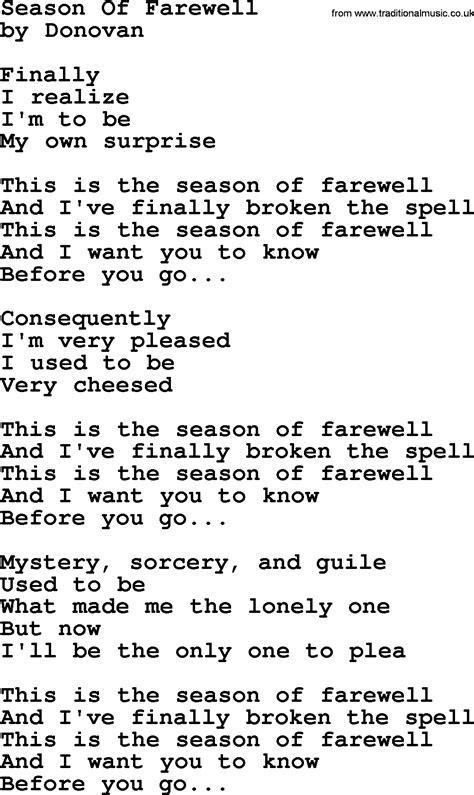 song of donovan leitch song season of farewell lyrics