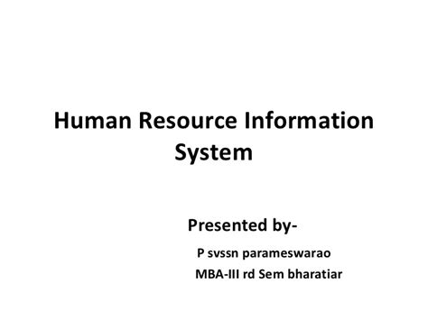 Information On Mba In Human Resources by Hris