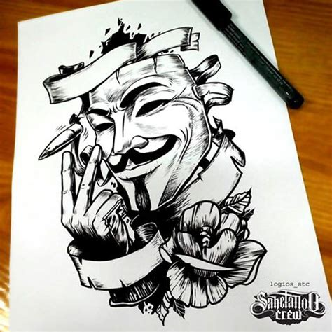 anonymous mask tattoo brand new sketch from logios sake crew